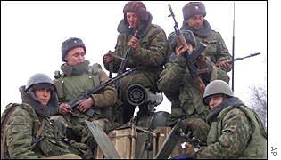 Russian soldiers in Grozny